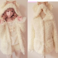 Princess Lolita Cute Sweet Gothic Nana PUNK Faux Fur BOW Jacket Coat White M~L