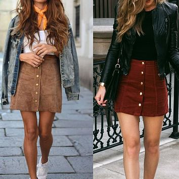 BUTTON-UP SUEDE MINI SKIRT