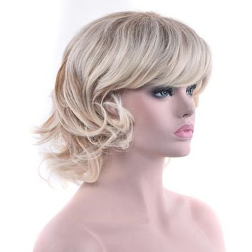Soowee 2 Colors Curly Short Blonde Wigs Cosplay Wigs Synthetic Hair Heat Resistance Hair Party Hair Wig for Women