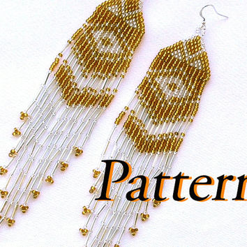 Earrings beading pattern. Native American Earrings inspired. Beaded jewelry. Beadwork. Simple Beading tutorial.