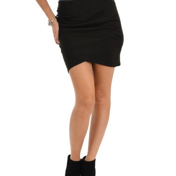 Lyss Loo Pencil It In Ruched Black Pencil Skirt