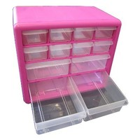 The Original Pink Box PB12SPB 12 Drawer Parts Bin, Pink