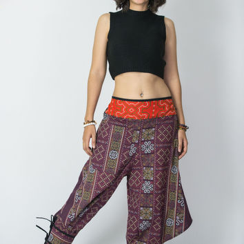 Clovers Thai Hill Tribe Fabric Women Harem Pants with Ankle Straps in Plum
