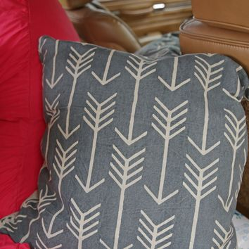 canvas arrow pillow- washed grey