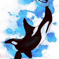 """Oceanic Ink series """"Orca"""" print, Ink and pen, Limited Edition Prints"""