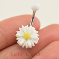 belly button jewelry,little daisy belly button rings, navel ring, piercing belly ring,flower friendship gift