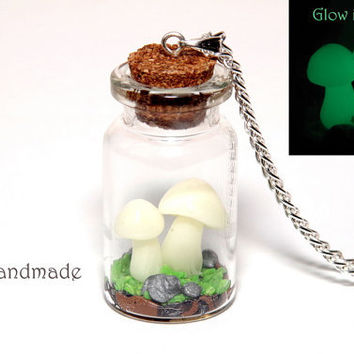 Glow in the dark mushrooms in a glass jar necklace