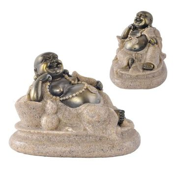 The Nature Sandstone Small Maitreya Buddha Statue Fashion Sculpture Resin Technology Hand Carved Figurine Home Decoration A20