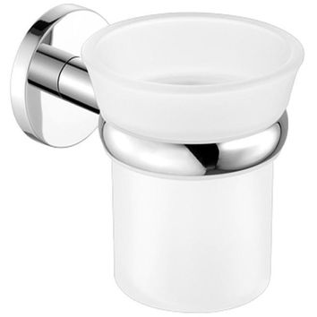 SCBA Corner Wall Frosted Glass Toothbrush Toothpaste Holder Bath Tumbler - Brass