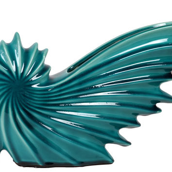 Stylish & Contemporary Ceramic Nautilus Seashell Blue