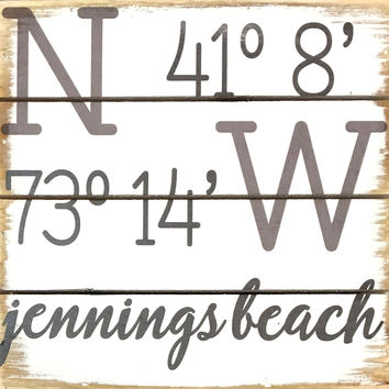 Weathered Coastal Plank Board Sign with Coordinates for Jennings Beach, Fairfield, CT