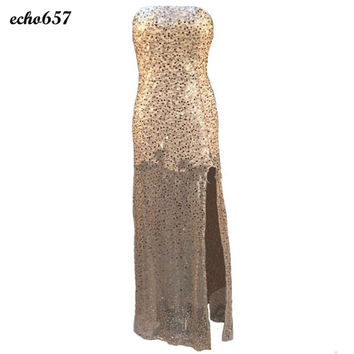 Women Dress Echo657 Fashion Lady Sleeveless Sexy Bridesmaid Long Prom Ball Gold Sequins Party Dress Jan 11