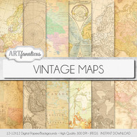 "Vintage maps digital paper, ""VINTAGE MAPS"" backgrounds,antique maps, old world, globe, America, Europe, Asia, Australia, maps, scrapbooking,"