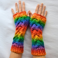 Bright Rainbow Knitted Long Cabled Fingerless Gloves / Merino / Wool  / Hand Knit / Cabled / Arm Warmers / Braided Gloves