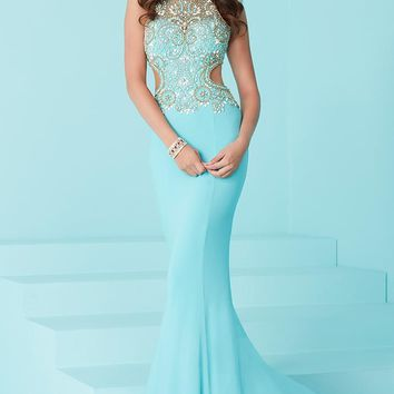 Tiffany Designs - 16252 Svelte Embellished Long Evening Gown with Cutouts