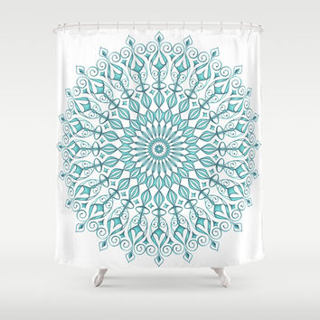 Aqua mandala Shower Curtain by juliagrifoldesigns