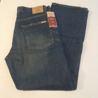 Vintage New Men's Signature Levis, Loose Straight Jeans, 34 x 34 100% Cotton Made in Columbia, Never Worn Tags Still On Fraying from Factory