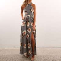 Women's Gray Floral Print Halter Style Maxi Dress with Front Slit