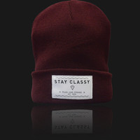 Plug and String Clothing — STAY CLASSY BEANIE | maroon