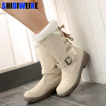 Fashion Cotton Boots Winter Women Mid-calf Boots with Fur Leather Lace Up Ladies Shoes Plus Size 34-43 Snow Boots n225