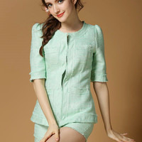 Half Sleeve Blouse with Shorts Set
