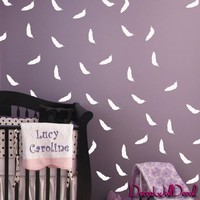 Set of 98 Feather Bird Pen Flyer Fly Vinyl Wall Decal Art Sticker for Baby Room Nursery Confetti Bedroom Bed M1611 Made in Usa
