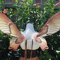 Custom Order Earth tone, cream, tan, brown and dusty rose moth Fairy wings with feathers and bronze and pink glitter