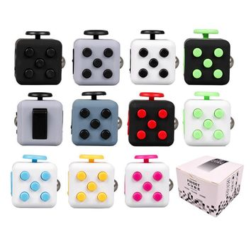 11 colors Fidget cube 3.3cm Anti stress Toys For Adult Finger Fun Desk Magic anti-stress Cube for Children Gift with Box