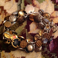 Vintage 1950's 1960s Silver and Gold Button Charm Bracelet