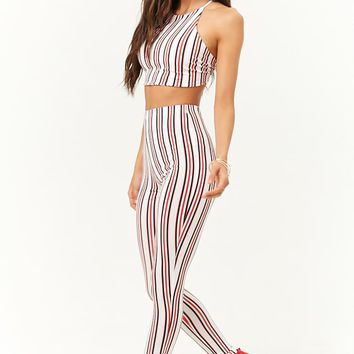 Striped Crop Top and Leggings Set