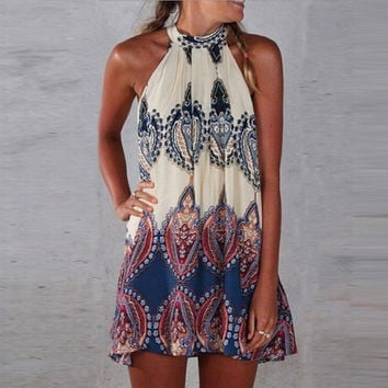 Ethnic Ladies Sleeveless Halter Neck Floral Summer Casual Mini Dress Beach Party = 1931633092