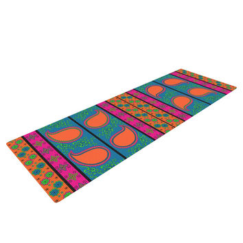 "Nandita Singh ""Bohemian V"" Orange Blue Yoga Mat"