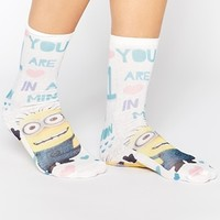 "ASOS Ankle Socks With 'One in a Minion"" Print"