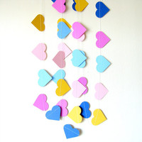 Heart Paper Garland - paper heart garland, home decor, kids room decor, nursery decoration, party decor