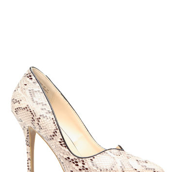 Faux Snake Skin Plunging Pointy Toe Pumps