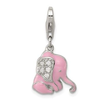 925 Sterling Silver Pink Enameled Cubic Zirconia Elephant Charm and Pendant