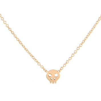 Rose Gold Small Skull Necklace