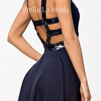 Navy Sequined Straps Mesh Cutout Skater Dress