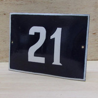 Vintage French Blue House Number, Door Number 21, Preservede French Enameled Sign Number 21, Street Sign Number 21, Blue Enamel Metal Plate