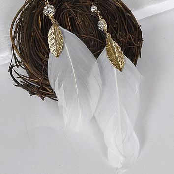 Crystal and Stone Studded Feather Earrings with Metallic Leaf Pattern