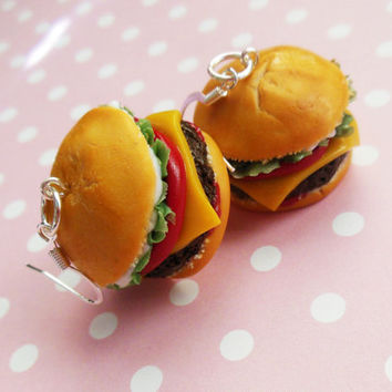 Cheeseburger Hook Earrings, Polymer Clay, Miniature Food Jewelry, Statement jewelry