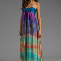 Twelfth Street By Cynthia Vincent Conch Tie Back Strapless Maxi Dress in Turk Sunset