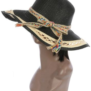 Braided Color Yarn Trim Floppy Straw Hat And Cap 41