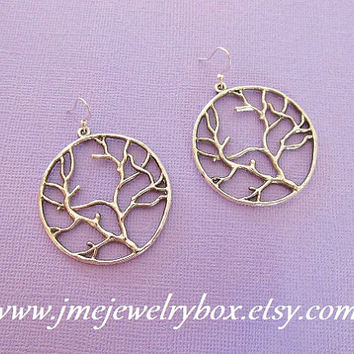 Big silver tree earrings