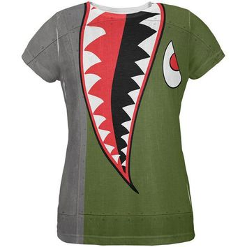 CUPUPWL Halloween WWII Flying Tiger Fighter Shark Nose Art All Over Womens T Shirt