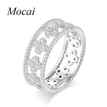 Latest Hollow Sweet Four Leaf Clover Rings For Women Silver Color Cubic Zircornia Flower Finger Engament Ring Jewelry ZK20