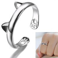 Jewelry Cute Cat Claw Open Ring Plated Finger