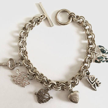 Sterling Silver Double Link Charm Bracelet 7.5 Inch with Toggle Clasp and 6 Love Charms Including Puffed Heart Locket Charm