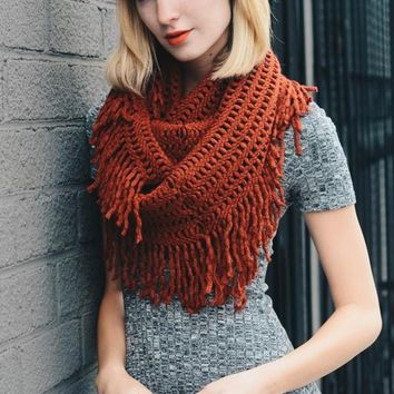 Warm Greetings Tassel Infinity Scarf, Brick