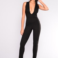Felt So Right Jumpsuit - Black